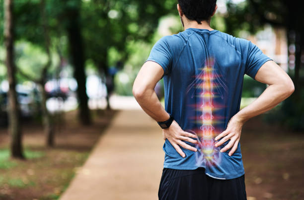 Spinal Bone Pain Reflection on Male Jogger